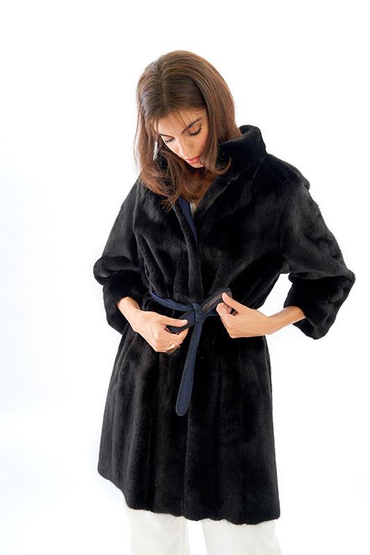 Cappottino Visone nero black reversibile | Nicola Pelliccerie