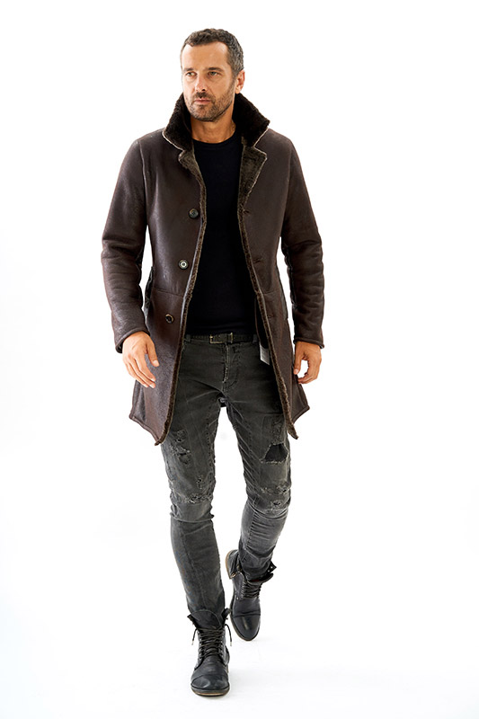 Cappotto Shearling pelliccia uomo ragazzo marrone invecchiato | Nicola Pelliccerie