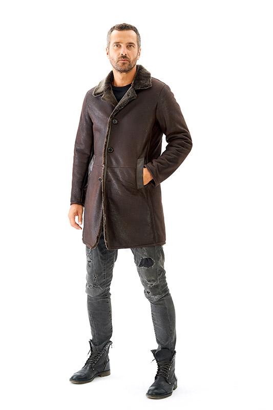 Cappotto shearling uomo pelliccia ragazzo marrone invecchiato | Nicola Pelliccerie