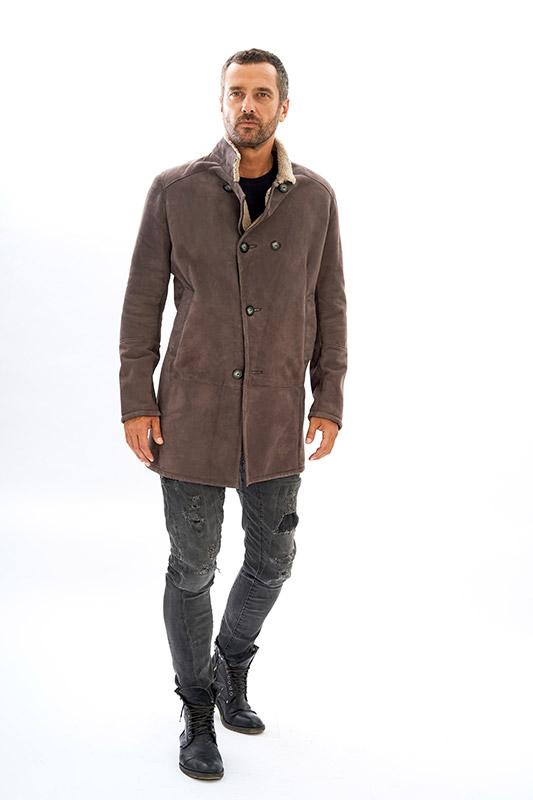 Cappotto shearling pelliccia uomo ragazzo grigio | Nicola Pelliccerie