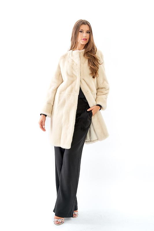 Cappotto visone perla bianco naturale | Nicola Pelliccerie