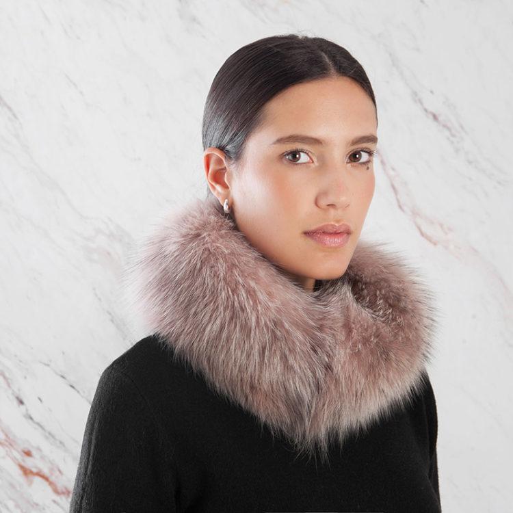 Fascia collo rosa antico volpe | Nicola Pelliccerie