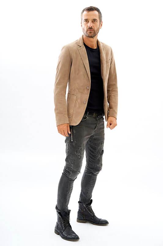 Giacca blazer uomo pelle camoscio casual | Nicola Pelliccerie