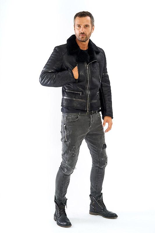 Giacca shearling uomo aviatore pelle nero ragazzo chiodo | Nicola Pelliccerie