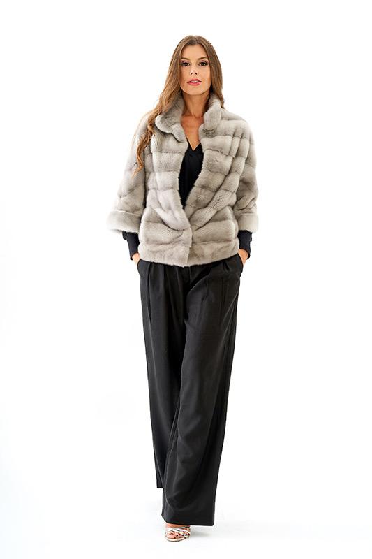 Giacca visone grigio chiaro zaffiro naturale corto | Nicola Pelliccerie
