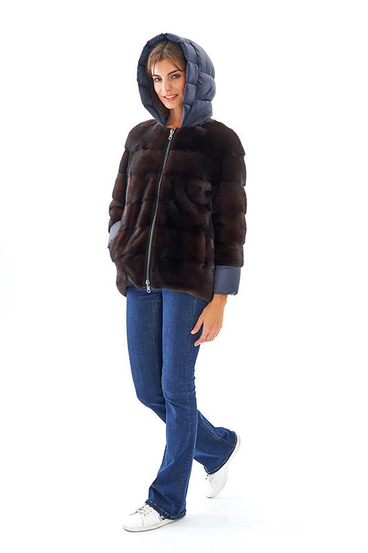 Giacca visone marrone blu piumino cappuccio reversibile | Nicola Pelliccerie