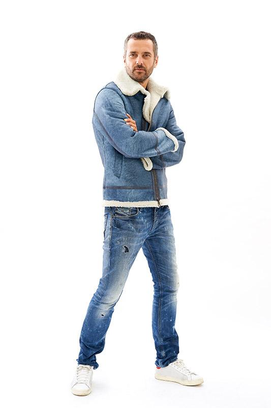 Montone Shearling Aviatore giacca pelle denim personalizzata | Nicola Pelliccerie