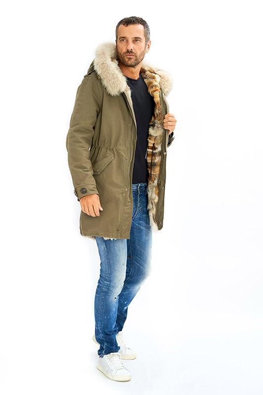 Parka uomo pelliccia interno volpe | Nicola Pelliccerie