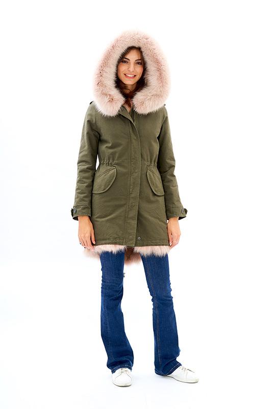 Parka verde pelliccia rosa antico cipria ragazza | Nicola Pelliccerie
