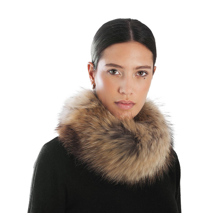 Anello sciarpa scaldacollo pelliccia marrone | Nicola Pelliccerie