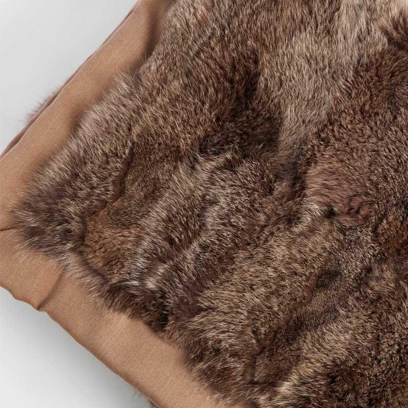 Arredamento pelliccia coperta marrone volpe naturale calda leggera chalet | Nicola Pelliccerie