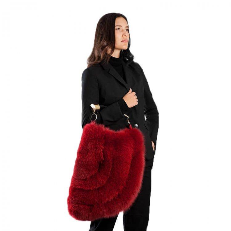 Borsa a mano grande rossa pelliccia con corno | Nicola Pelliccerie
