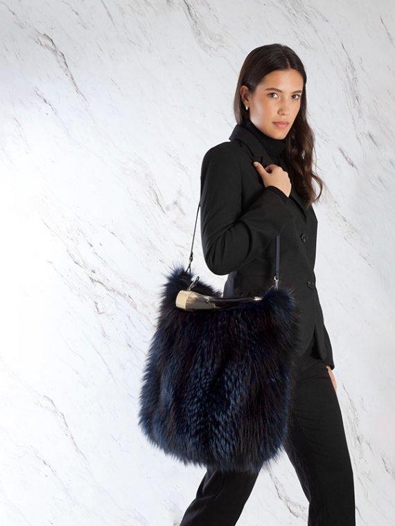 Borsa a tracolla blu pelliccia pelle grande volpe manico corno naturale | Nicola Pelliccerie