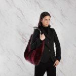 Borsa pelliccia a spalla rossa con corno fox natural horn   Nicola Pelliccerie