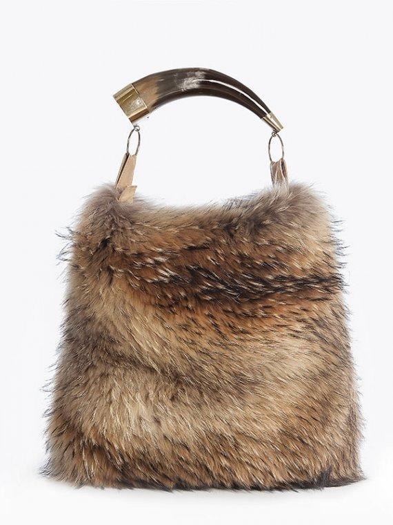 Borsa pelliccia beige marrone naturale con corno | Nicola Pelliccerie