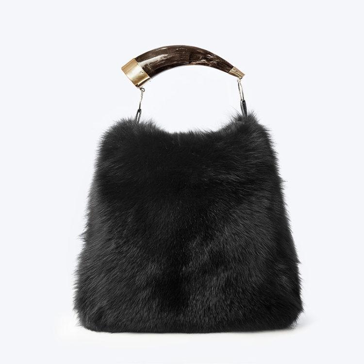 Borsa pelliccia volpe nera grande manico corno naturale | Nicola Pelliccerie