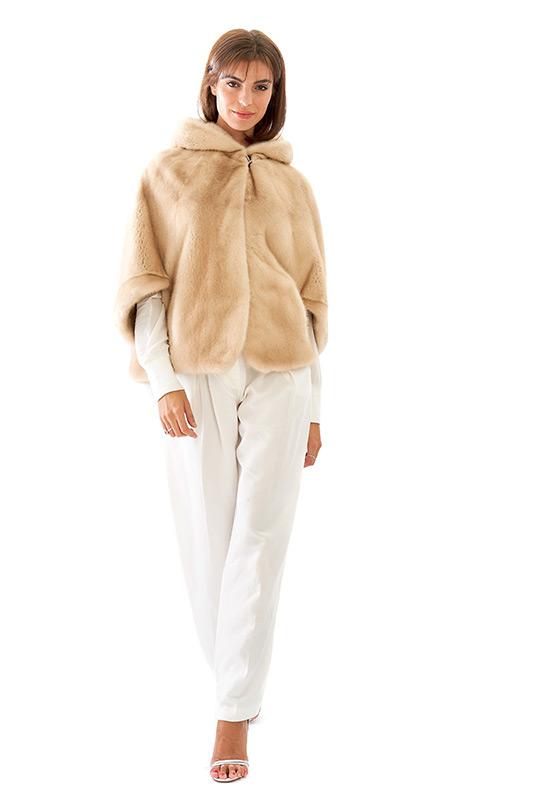 Cappa visone beige naturale cappuccio corta | Nicola Pelliccerie