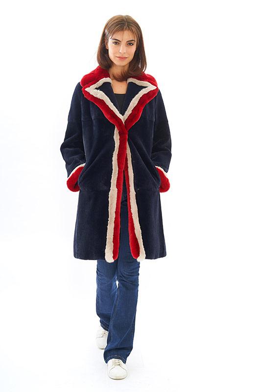 Cappotto rex lapin pelliccia blu bianco rossa | Nicola Pelliccerie