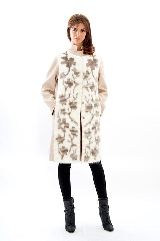 Cappotto cachemire visone gilet smanicato bianco fiori | Nicola Pelliccerie