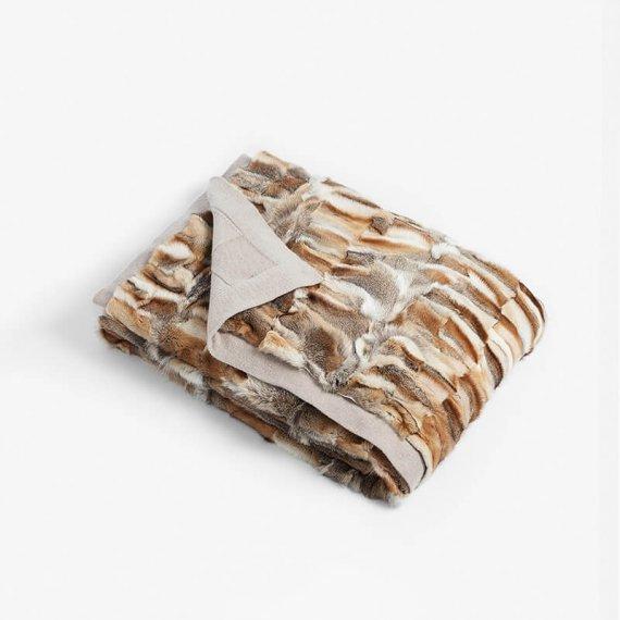 Coperta plaid pelliccia volpe naturale lana cachemire | Nicola Pelliccerie