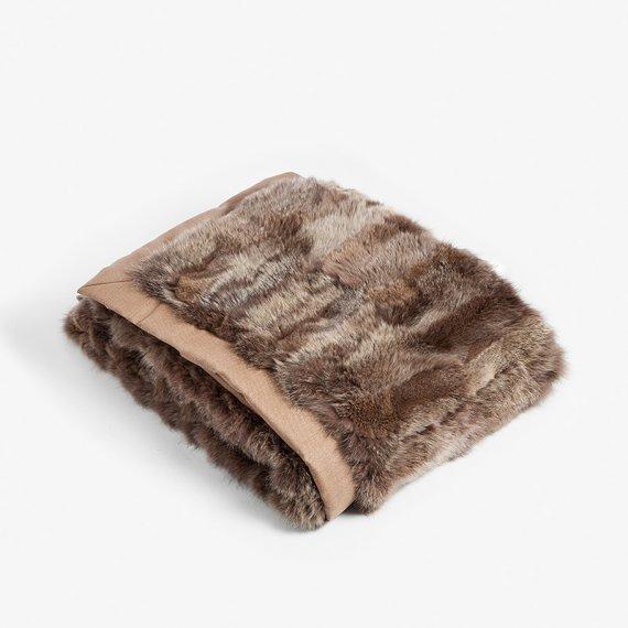 Coperta pelliccia marrone volpe grande divano plaid letto | Nicola Pelliccerie