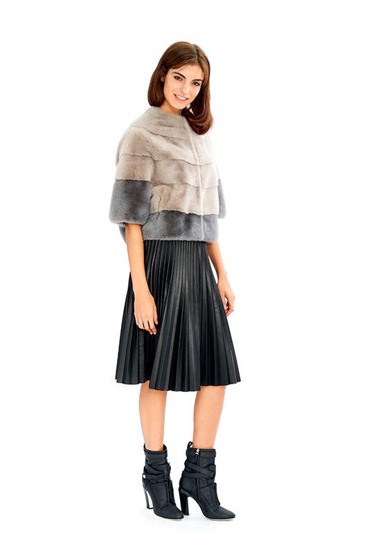 Giacca visone corta grigio chiaro scuro | Nicola Pelliccerie