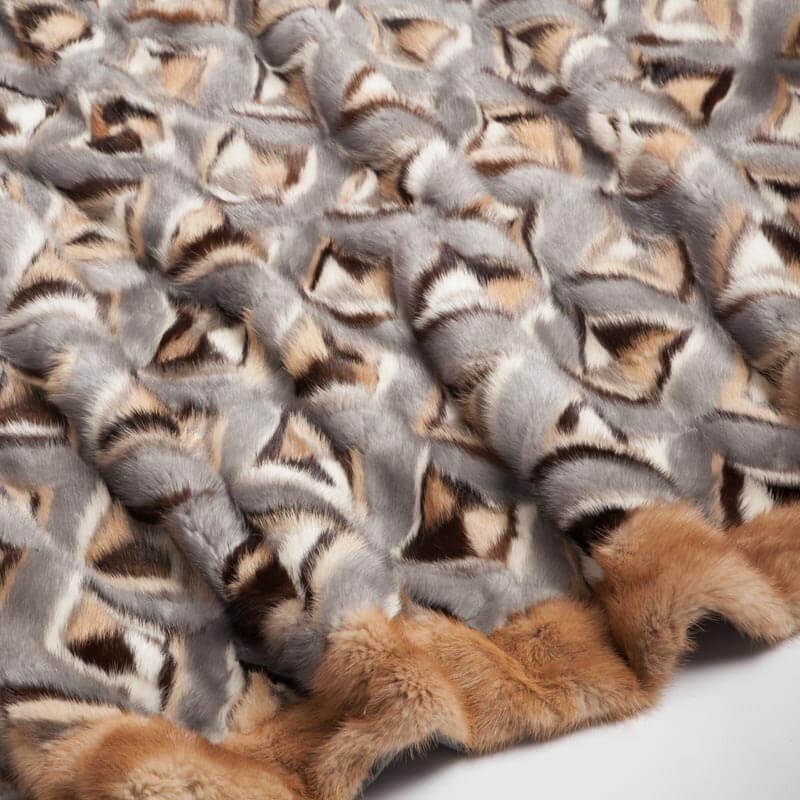 Plaid matrimoniale pelliccia lana grigia baita | Nicola Pelliccerie