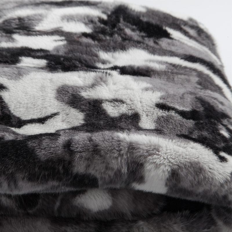 Plaid pelliccia matrimoniale leggero grigio nero militare cachemire lapin | Nicola Pelliccerie