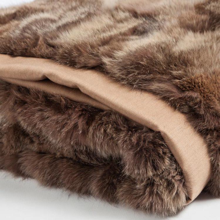 Plaid matrimoniale castagna pelliccia volpe naturale baita | Nicola Pelliccerie