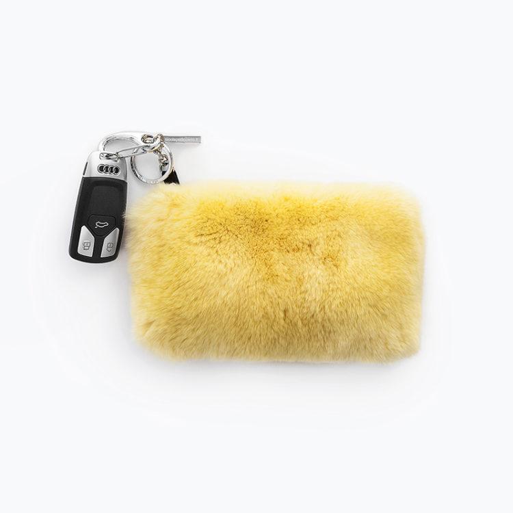 Pochette pelliccia giallo portamonete pelle bustina | Nicola Pelliccerie