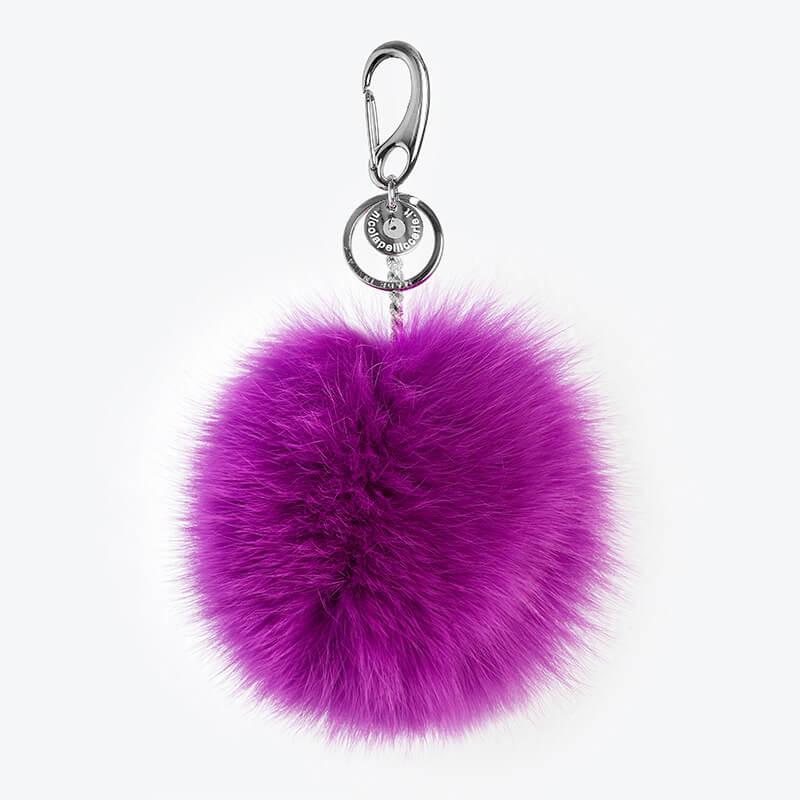 Portachiavi fucsia charm borsa pon pelliccia idea regalo viola | Nicola Pelliccerie