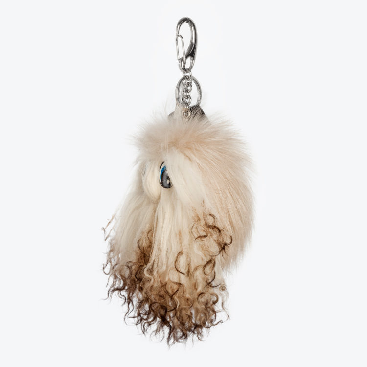 Portachiavi pelliccia crema volpe bianco pon pon charms borsa | Nicola Pelliccerie