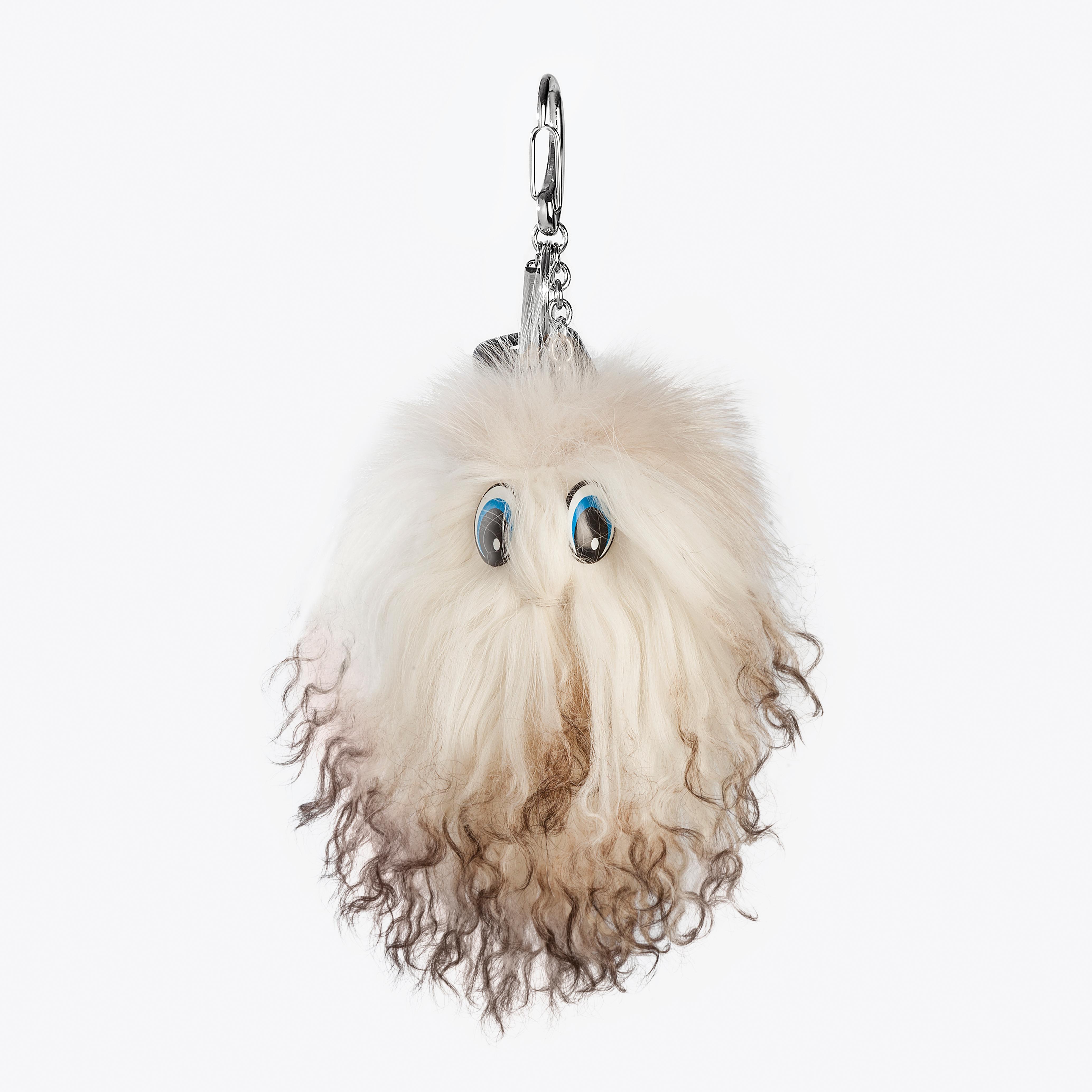 Portachiavi pelliccia volpe bianca pon pon charms borsa disney | Nicola Pelliccerie