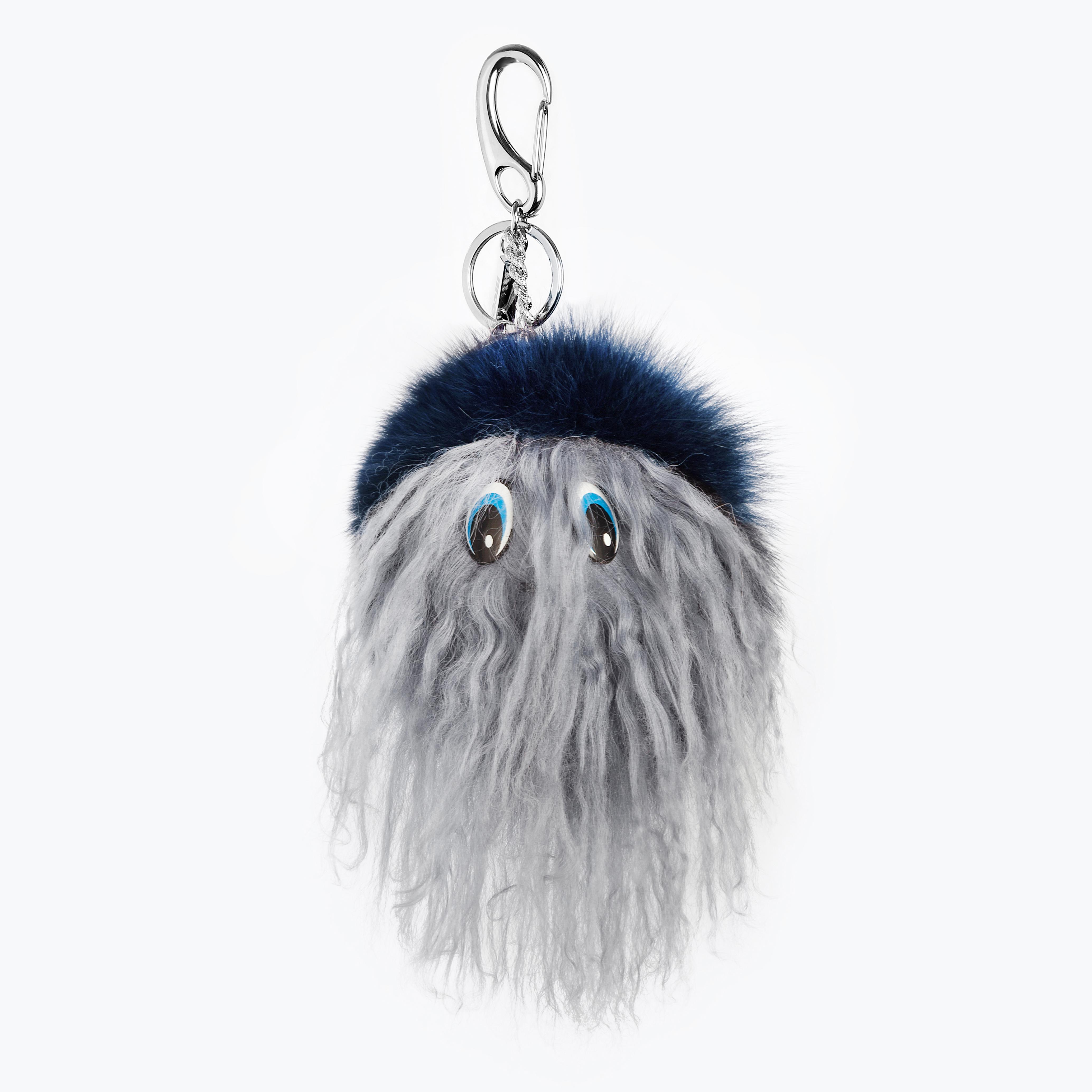 Portachiavi pelliccia volpe pon pon charms borsa blu grigio perla | Nicola Pelliccerie