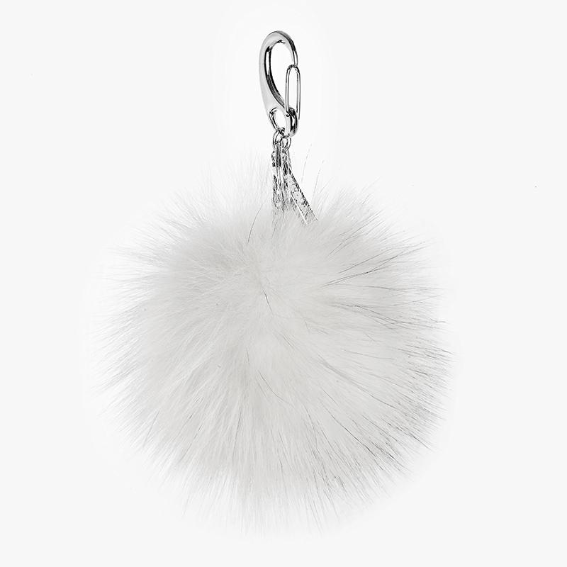 Portachiavi pon-pon bianco charm volpe | Nicola Pelliccerie