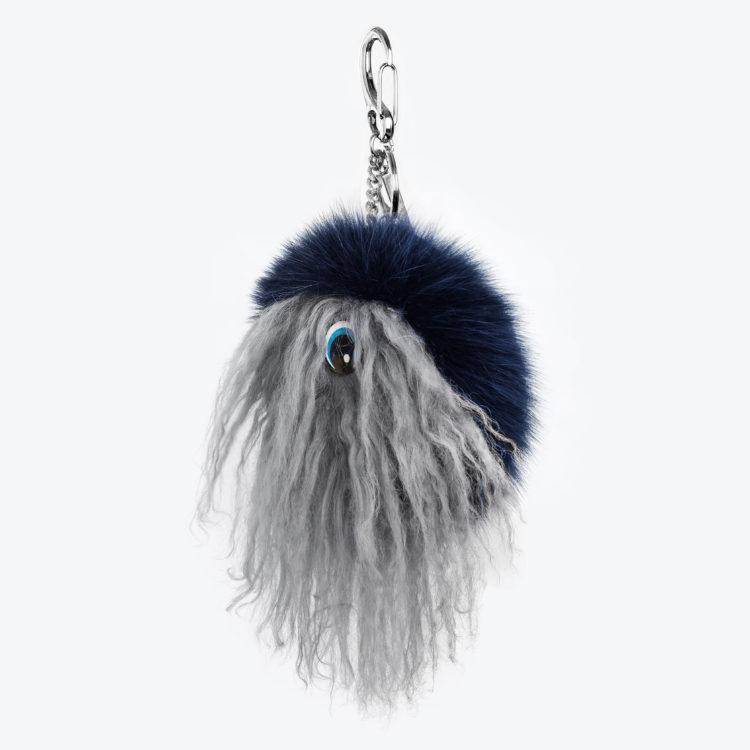 Portachiavi volpe pelliccia pon disney charms blu grigio chiaro | Nicola Pelliccerie