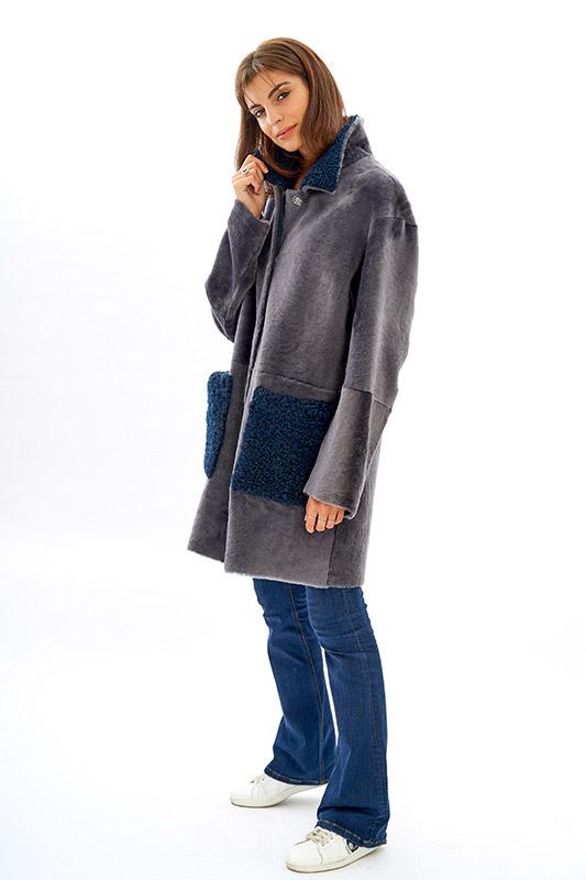 Shearling pelliccia grigio azzurro oversize moda | Nicola Pelliccerie